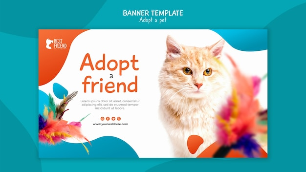 Adopt a kitty fluffy friend banner template