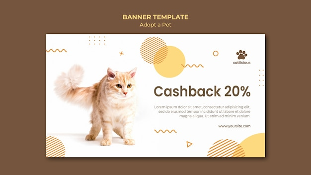 Adopt a pet banner design template
