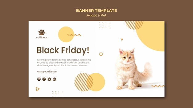 Adopt a pet banner style template Free Psd