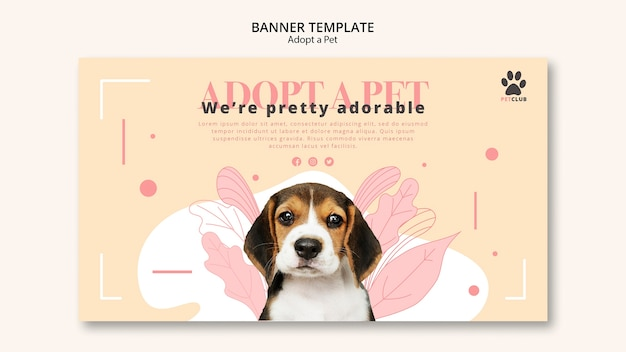Adopt pet banner template concept