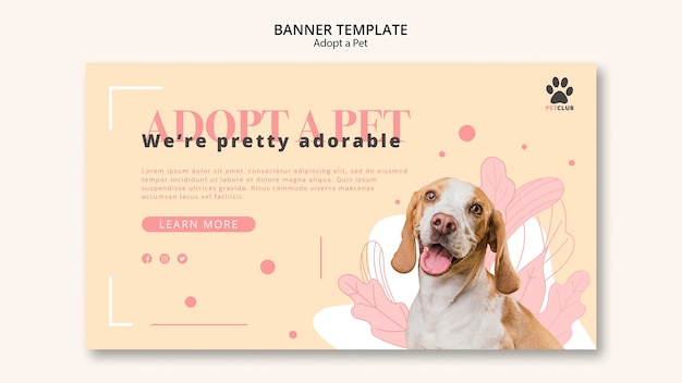 애완 동물 배너 템플릿 디자인을 채택