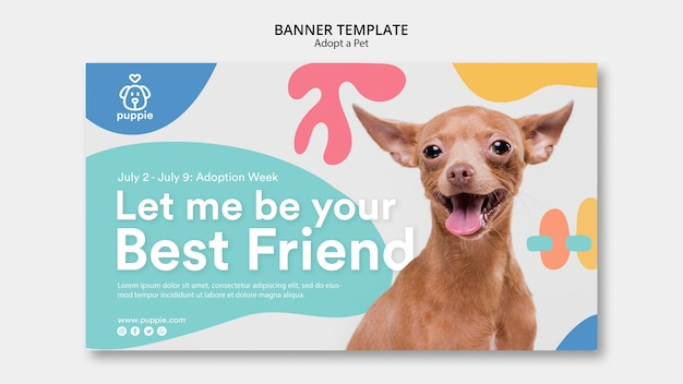 Adopt a pet banner template design