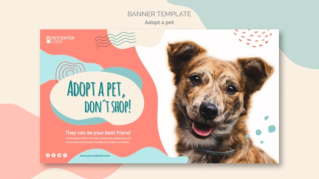 Adopt a pet banner template with dog