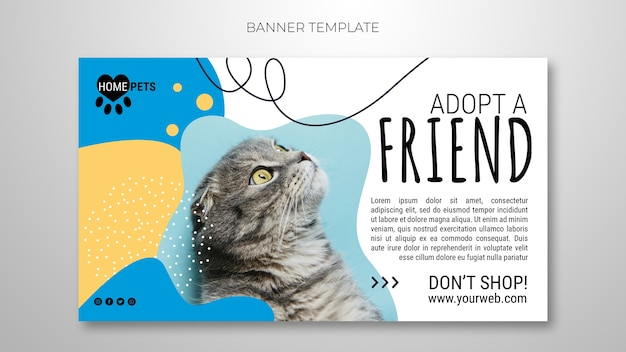 Adopt a pet banner template with photo of cat