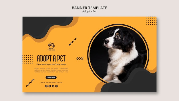 Adopt a pet border collie dog banner template
