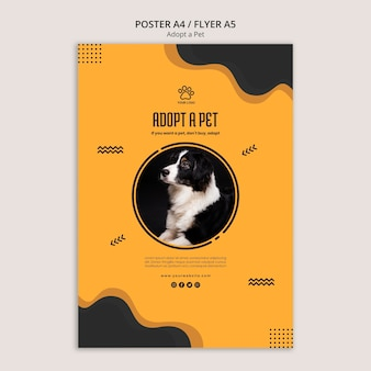 Adopt a pet border collie dog poster template