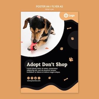 Adopt a pet concept flyer template Free Psd