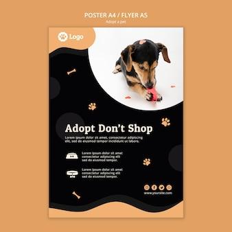Adotta un modello di volantino del concetto di animale domestico