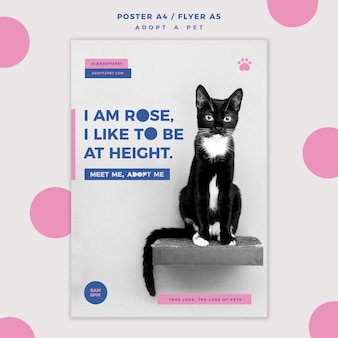 Adopt a pet concept flyer template