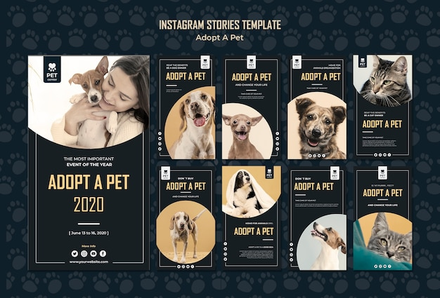 Adopt a pet concept instagram stories template