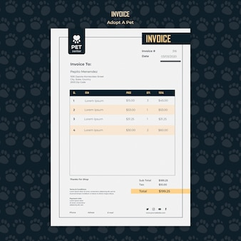 Adopt a pet concept invoice template