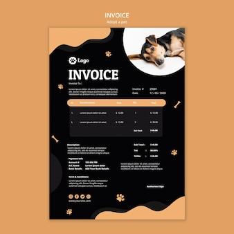 Adopt a pet concept invoice template