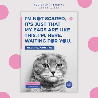 Adotta un modello di poster del concetto di animale domestico