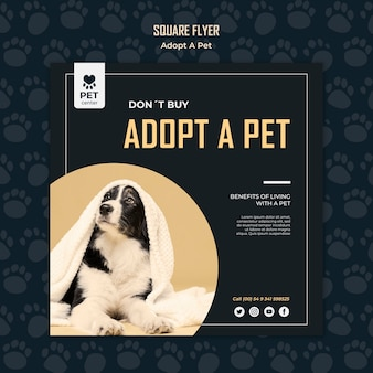 Adopt a pet concept square flyer template