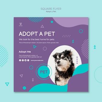 Adopt a pet concept square flyer