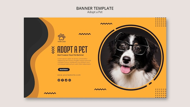 Adopt a pet dog with glasses banner template