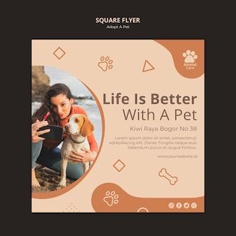애완 동물 전단지 템플릿 디자인 채택