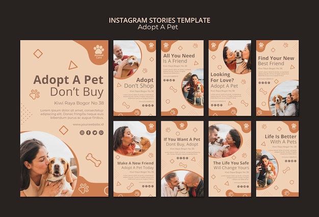 Adopt pet instagram stories template