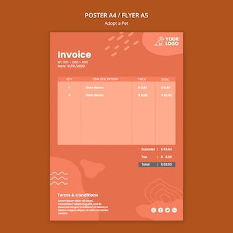 Adopt a pet invoice design