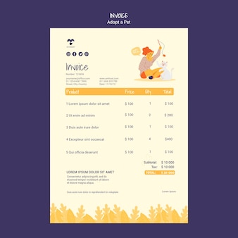 Adopt a pet invoice template