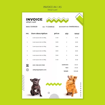 Adopt a pet poster invoice template
