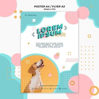Adopt pet poster template concept