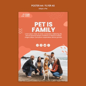 Adopt a pet poster template style