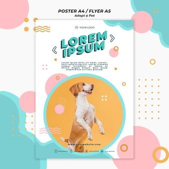 Adopt pet poster template theme