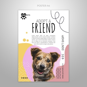 Adopt a pet poster template with photo Free Psd