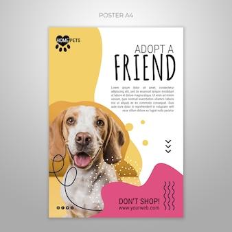 Adopt a pet poster template Free Psd
