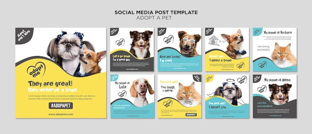 Adopt a pet social media post template