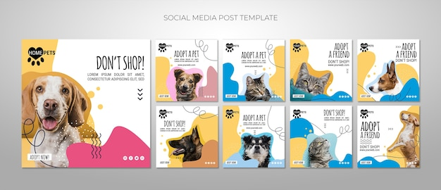 Adopt a pet social media posts template