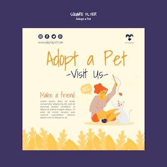 Adopt a pet square flyer design