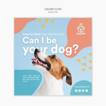 Adotta un design volantino quadrato per animali domestici