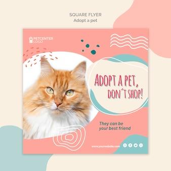 Adotta uno stile modello di volantino quadrato per animali domestici