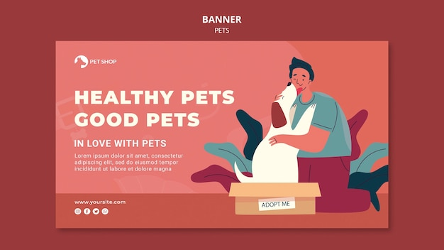 Adopt pets banner template