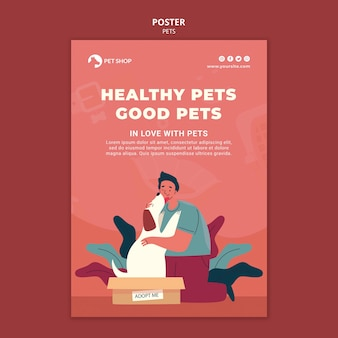 Adopt pets poster template