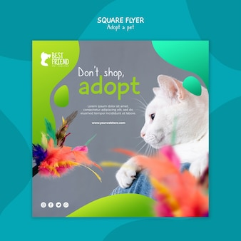 Примите вашу домашнюю кошку квадратный флаер