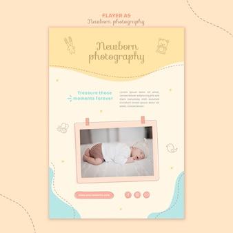 Очаровательный сонный новорожденный флаер канцелярский шаблон