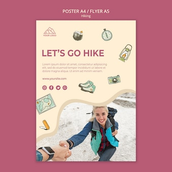 Adventure and hiking poster template