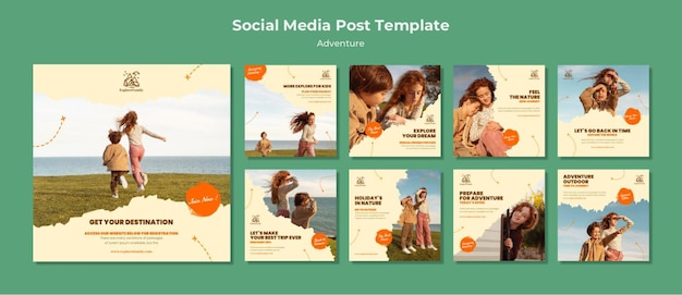 Adventure outdoors children social media post template