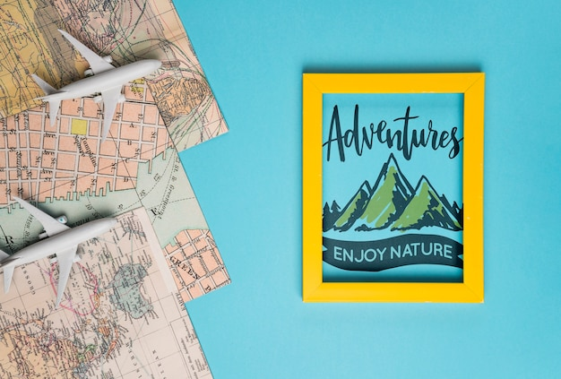 Adventures enjoy nature, motivational lettering quote for holidays traveling concept