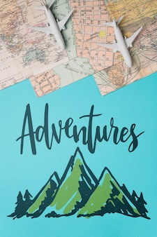 Adventures, motivational lettering quote for holidays traveling concept