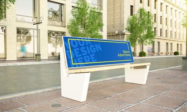 Рекламная скамейка на улице макет 3d рендеринга