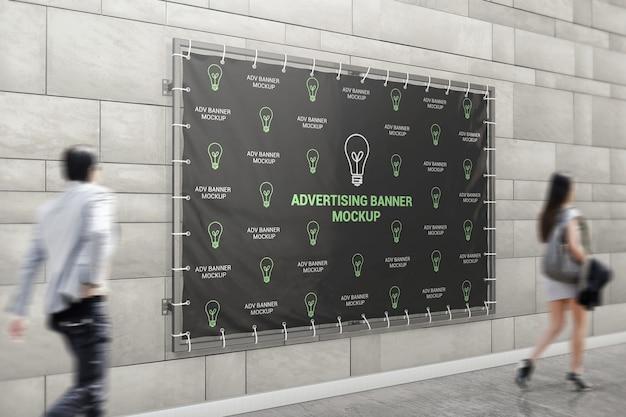 Advertising banner on building mockup