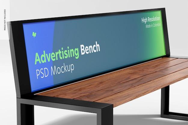 Advertising bench mockup, close up