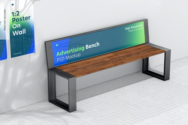 Advertising bench mockup, perspective