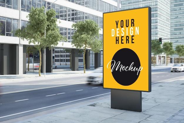 Advertising billboard on the street mock up