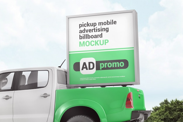 Advertising box on the back of pickup truck mockup
