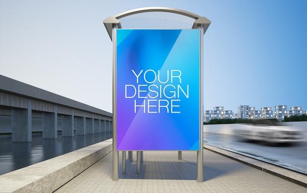 広告バス停のモックアップ3dレンダリング Premium Psd